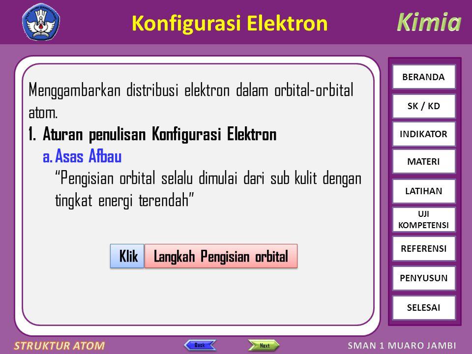 Click to edit Master text styles – Second level Third level – Fourth level » Fifth level BERANDA SK / KD INDIKATOR MATERI LATIHAN REFERENSI PENYUSUN SELESAI UJI KOMPETENSI Next Back Konfigurasi Elektron Menggambarkan distribusi elektron dalam orbital-orbital atom.