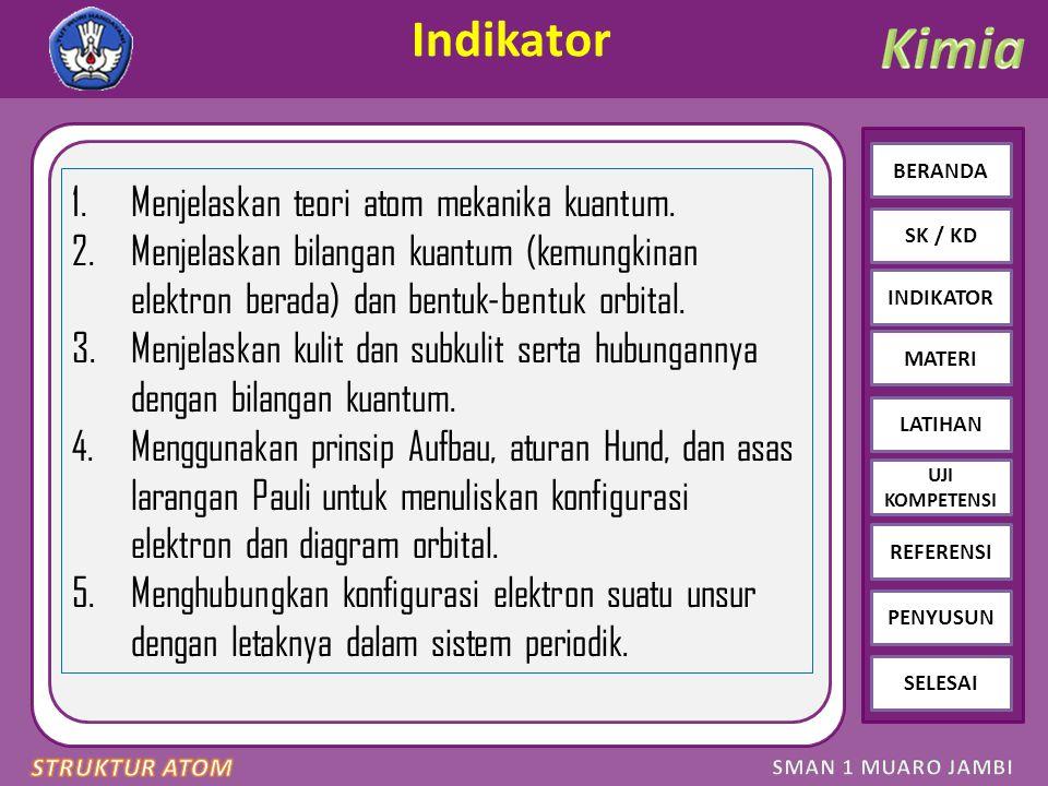 Click to edit Master text styles – Second level Third level – Fourth level » Fifth level BERANDA SK / KD INDIKATOR MATERI LATIHAN REFERENSI PENYUSUN SELESAI UJI KOMPETENSI LATIHAN SOAL 5 Diketahui beberapa konfigurasi elektron unsur: A: 1s 2 2s 2 2p 6 3s 1 B: 1s 2 2s 2 2p 6 3s 2 3p 5 C: 1s 2 2s 2 2p 6 3s 2 3p 6 D: 1s 2 2s 2 2p 6 3s 2 3p 6 3d 10 4s 2 4p 6 Pasangan yang membentuk senyawa ion adalah......