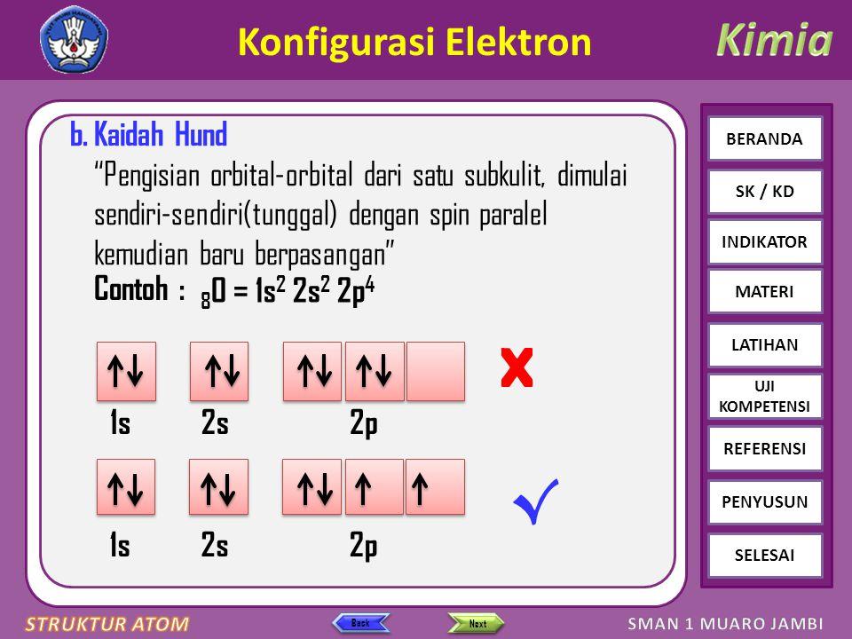 Click to edit Master text styles – Second level Third level – Fourth level » Fifth level BERANDA SK / KD INDIKATOR MATERI LATIHAN REFERENSI PENYUSUN SELESAI UJI KOMPETENSI Next Back Konfigurasi Elektron b.Kaidah Hund Pengisian orbital-orbital dari satu subkulit, dimulai sendiri-sendiri(tunggal) dengan spin paralel kemudian baru berpasangan 1s2s2p √ 1s2s2p X 8 O = 1s 2 2s 2 2p 4 Contoh :