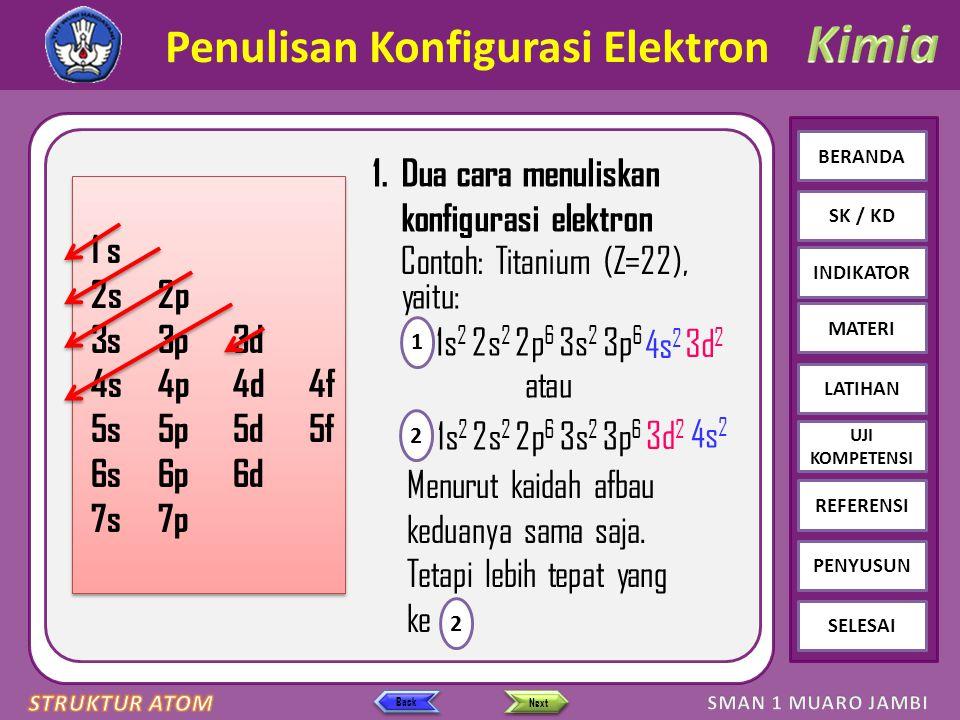 Click to edit Master text styles – Second level Third level – Fourth level » Fifth level BERANDA SK / KD INDIKATOR MATERI LATIHAN REFERENSI PENYUSUN SELESAI UJI KOMPETENSI Next Back Penulisan Konfigurasi Elektron 1.Dua cara menuliskan konfigurasi elektron 1 s 2s2p 3s3p3d 4s4p4d4f 5s5p5d5f 6s6p6d 7s7p 1 s 2s2p 3s3p3d 4s4p4d4f 5s5p5d5f 6s6p6d 7s7p Contoh: Titanium (Z=22), yaitu: atau 1s 2 1 1s 2 2s 2 2p 6 3s 2 3p 6 2 Menurut kaidah afbau keduanya sama saja.