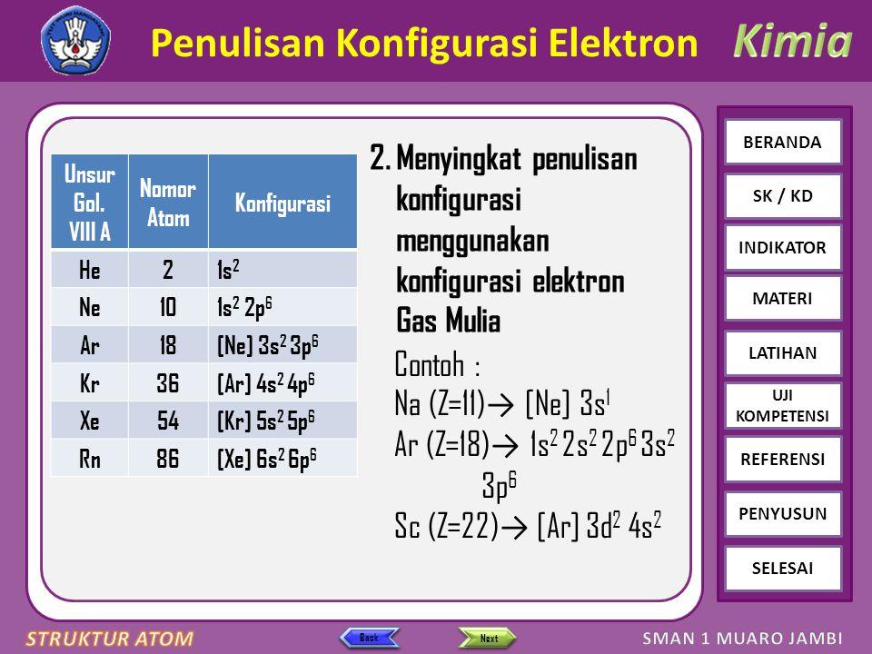 Click to edit Master text styles – Second level Third level – Fourth level » Fifth level BERANDA SK / KD INDIKATOR MATERI LATIHAN REFERENSI PENYUSUN SELESAI UJI KOMPETENSI Next Back 2.Menyingkat penulisan konfigurasi menggunakan konfigurasi elektron Gas Mulia Penulisan Konfigurasi Elektron Unsur Gol.