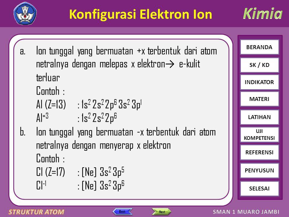 Click to edit Master text styles – Second level Third level – Fourth level » Fifth level BERANDA SK / KD INDIKATOR MATERI LATIHAN REFERENSI PENYUSUN SELESAI UJI KOMPETENSI Next Back Konfigurasi Elektron Ion a.Ion tunggal yang bermuatan +x terbentuk dari atom netralnya dengan melepas x elektron → e-kulit terluar Contoh : Al (Z=13): 1s 2 2s 2 2p 6 3s 2 3p 1 Al +3 : 1s 2 2s 2 2p 6 b.Ion tunggal yang bermuatan -x terbentuk dari atom netralnya dengan menyerap x elektron Contoh : Cl (Z=17): [Ne] 3s 2 3p 5 Cl -1 : [Ne] 3s 2 3p 6
