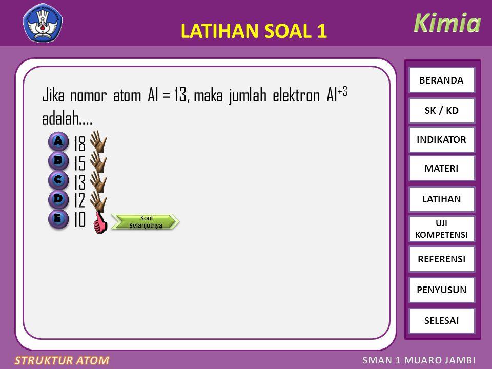 Click to edit Master text styles – Second level Third level – Fourth level » Fifth level BERANDA SK / KD INDIKATOR MATERI LATIHAN REFERENSI PENYUSUN SELESAI UJI KOMPETENSI LATIHAN SOAL 1 Jika nomor atom Al = 13, maka jumlah elektron Al +3 adalah....