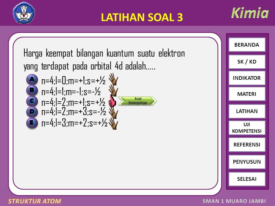 Click to edit Master text styles – Second level Third level – Fourth level » Fifth level BERANDA SK / KD INDIKATOR MATERI LATIHAN REFERENSI PENYUSUN SELESAI UJI KOMPETENSI LATIHAN SOAL 3 Harga keempat bilangan kuantum suatu elektron yang terdapat pada orbital 4d adalah.....