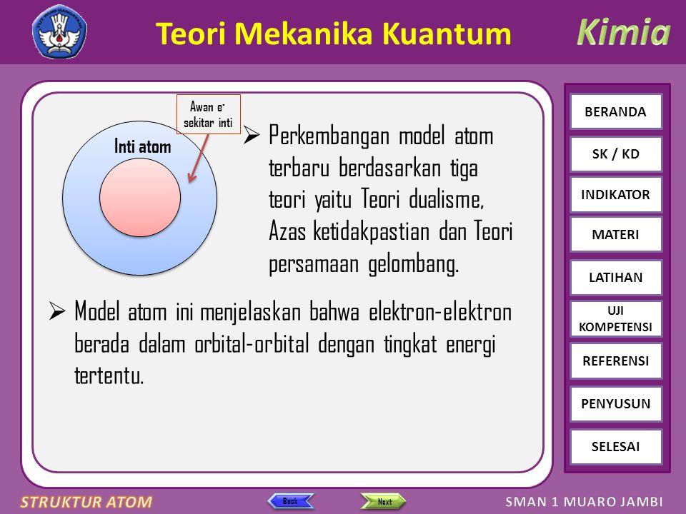 Click to edit Master text styles – Second level Third level – Fourth level » Fifth level BERANDA SK / KD INDIKATOR MATERI LATIHAN REFERENSI PENYUSUN SELESAI UJI KOMPETENSI Next Back Bilangan Kuantum Kedudukan suatu elektron dalam suatu atom dinyatakan oleh 4 bilangan kuantum: 1.Bilangan kuantum utama (n) Menyatakan tingkat energi utama atau kulit atom.