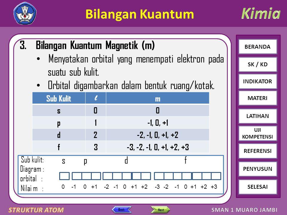 Click to edit Master text styles – Second level Third level – Fourth level » Fifth level BERANDA SK / KD INDIKATOR MATERI LATIHAN REFERENSI PENYUSUN SELESAI UJI KOMPETENSI LATIHAN SOAL 2 Ion suatu atom ditulis X ternyata unsur X terletak di.....