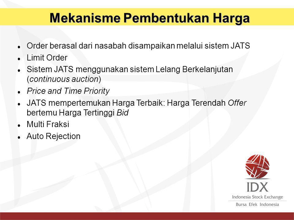 Order berasal dari nasabah disampaikan melalui sistem JATS Limit Order Sistem JATS menggunakan sistem Lelang Berkelanjutan (continuous auction) Price