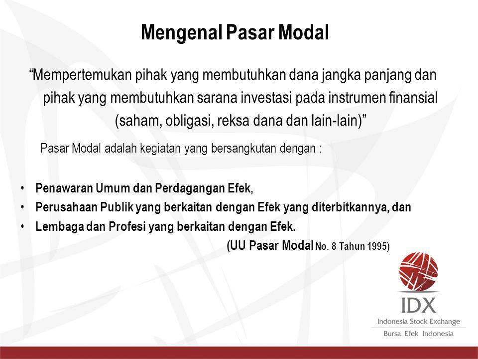 Pasar Modal adalah kegiatan yang bersangkutan dengan : Penawaran Umum dan Perdagangan Efek, Perusahaan Publik yang berkaitan dengan Efek yang diterbit
