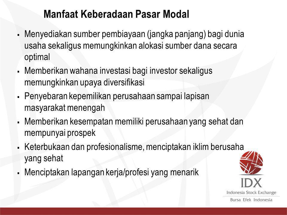 Manfaat Keberadaan Pasar Modal  Menyediakan sumber pembiayaan (jangka panjang) bagi dunia usaha sekaligus memungkinkan alokasi sumber dana secara opt