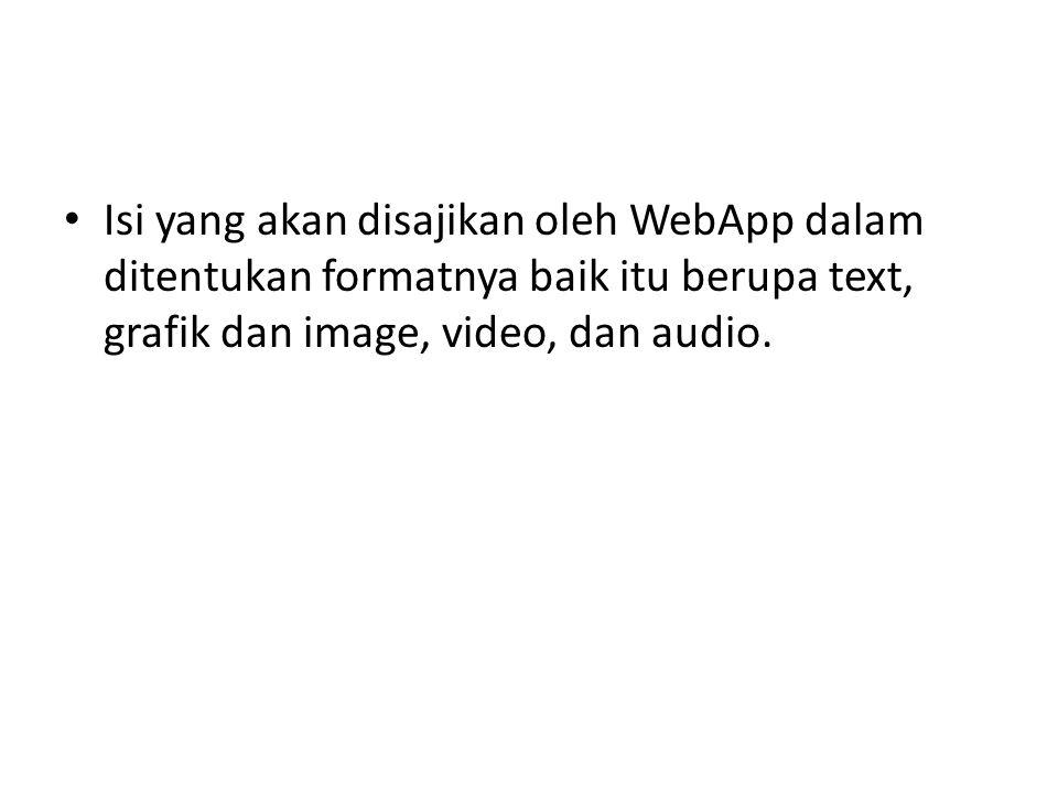 Isi yang akan disajikan oleh WebApp dalam ditentukan formatnya baik itu berupa text, grafik dan image, video, dan audio.