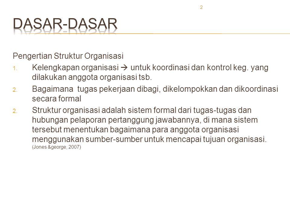 2 Pengertian Struktur Organisasi 1. Kelengkapan organisasi  untuk koordinasi dan kontrol keg. yang dilakukan anggota organisasi tsb. 2. Bagaimana tug