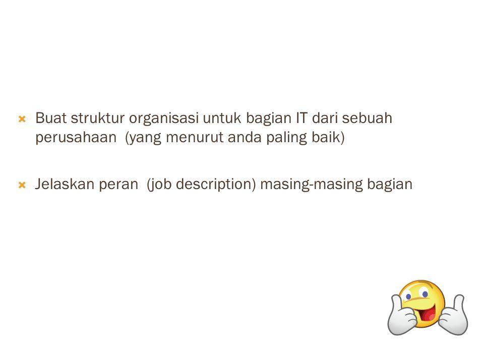  Buat struktur organisasi untuk bagian IT dari sebuah perusahaan (yang menurut anda paling baik)  Jelaskan peran (job description) masing-masing bag