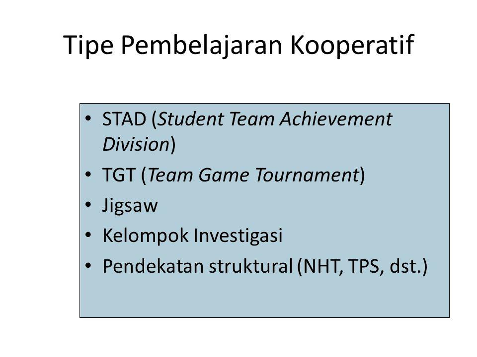 Tipe Pembelajaran Kooperatif STAD (Student Team Achievement Division) TGT (Team Game Tournament) Jigsaw Kelompok Investigasi Pendekatan struktural (NH