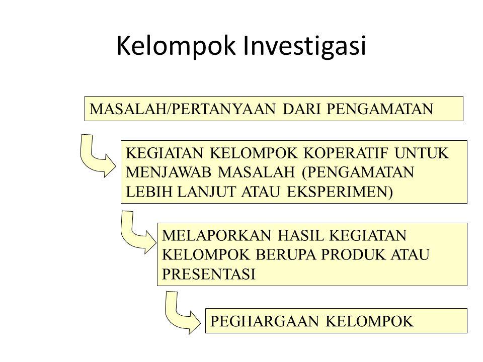 Kelompok Investigasi MASALAH/PERTANYAAN DARI PENGAMATAN KEGIATAN KELOMPOK KOPERATIF UNTUK MENJAWAB MASALAH (PENGAMATAN LEBIH LANJUT ATAU EKSPERIMEN) M
