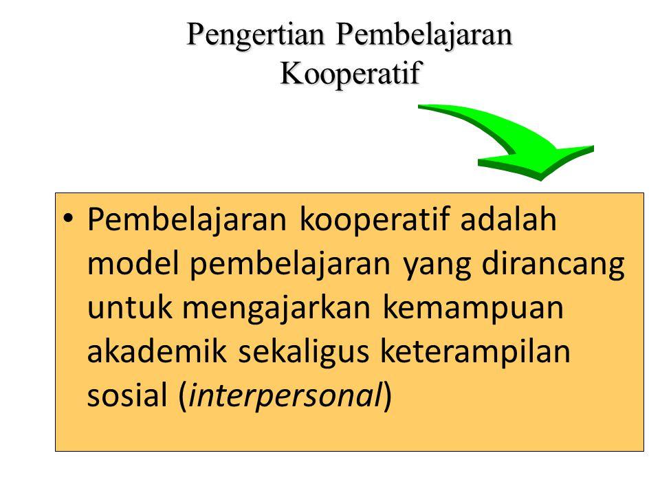 Pengertian Pembelajaran Kooperatif Pembelajaran kooperatif adalah model pembelajaran yang dirancang untuk mengajarkan kemampuan akademik sekaligus ket