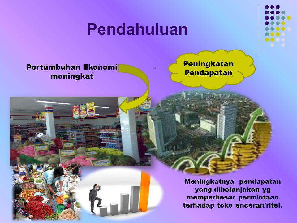 Pendahuluan. Pertumbuhan Ekonomi meningkat Peningkatan Pendapatan Meningkatnya pendapatan yang dibelanjakan yg memperbesar permintaan terhadap toko en