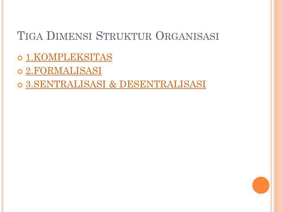 T IGA D IMENSI S TRUKTUR O RGANISASI 1.KOMPLEKSITAS 2.FORMALISASI 3.SENTRALISASI & DESENTRALISASI