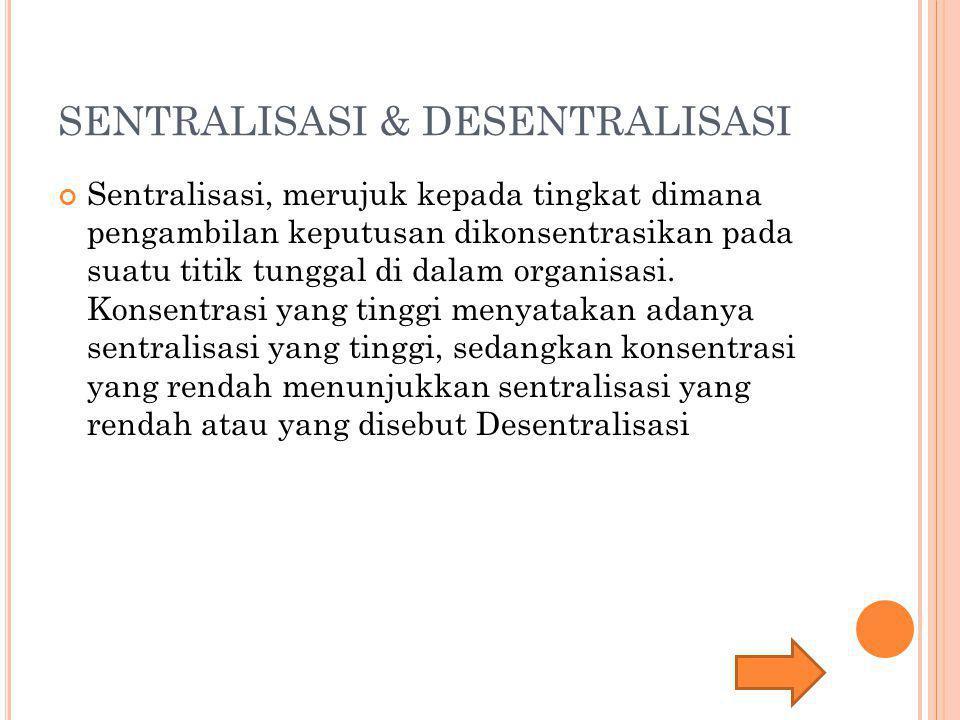SENTRALISASI & DESENTRALISASI Sentralisasi, merujuk kepada tingkat dimana pengambilan keputusan dikonsentrasikan pada suatu titik tunggal di dalam org