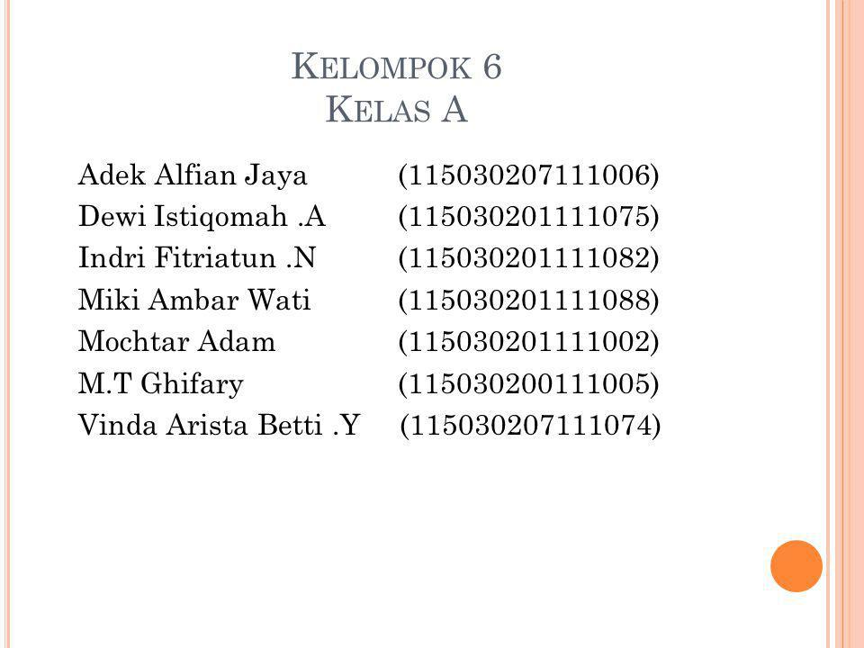 K ELOMPOK 6 K ELAS A Adek Alfian Jaya(115030207111006) Dewi Istiqomah.A(115030201111075) Indri Fitriatun.N(115030201111082) Miki Ambar Wati(1150302011