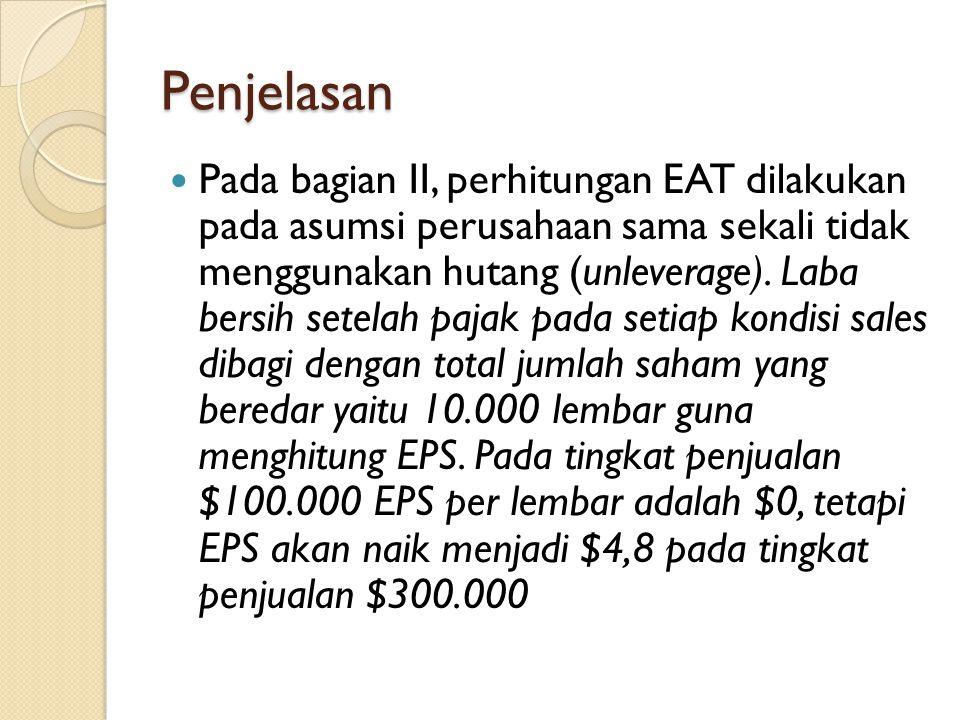 Penjelasan Pada bagian II, perhitungan EAT dilakukan pada asumsi perusahaan sama sekali tidak menggunakan hutang (unleverage). Laba bersih setelah paj