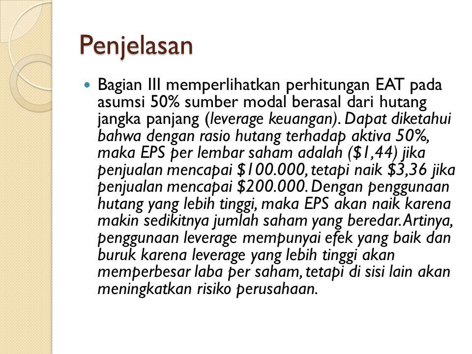Penjelasan Bagian III memperlihatkan perhitungan EAT pada asumsi 50% sumber modal berasal dari hutang jangka panjang (leverage keuangan). Dapat diketa