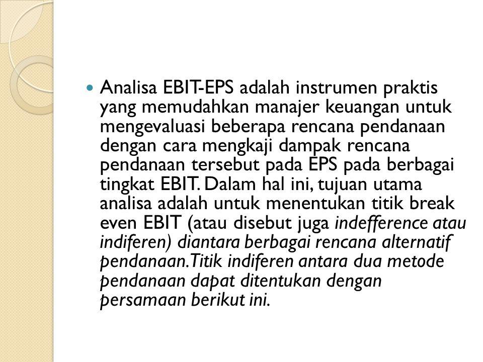 Analisa EBIT-EPS adalah instrumen praktis yang memudahkan manajer keuangan untuk mengevaluasi beberapa rencana pendanaan dengan cara mengkaji dampak r
