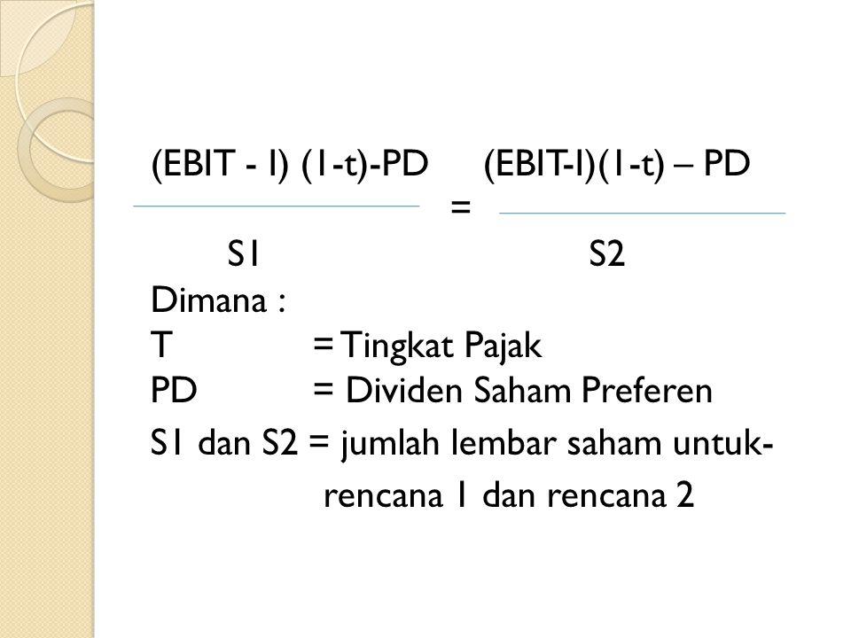 (EBIT - I) (1-t)-PD(EBIT-I)(1-t) – PD = S1 S2 Dimana : T= Tingkat Pajak PD= Dividen Saham Preferen S1 dan S2 = jumlah lembar saham untuk- rencana 1 da