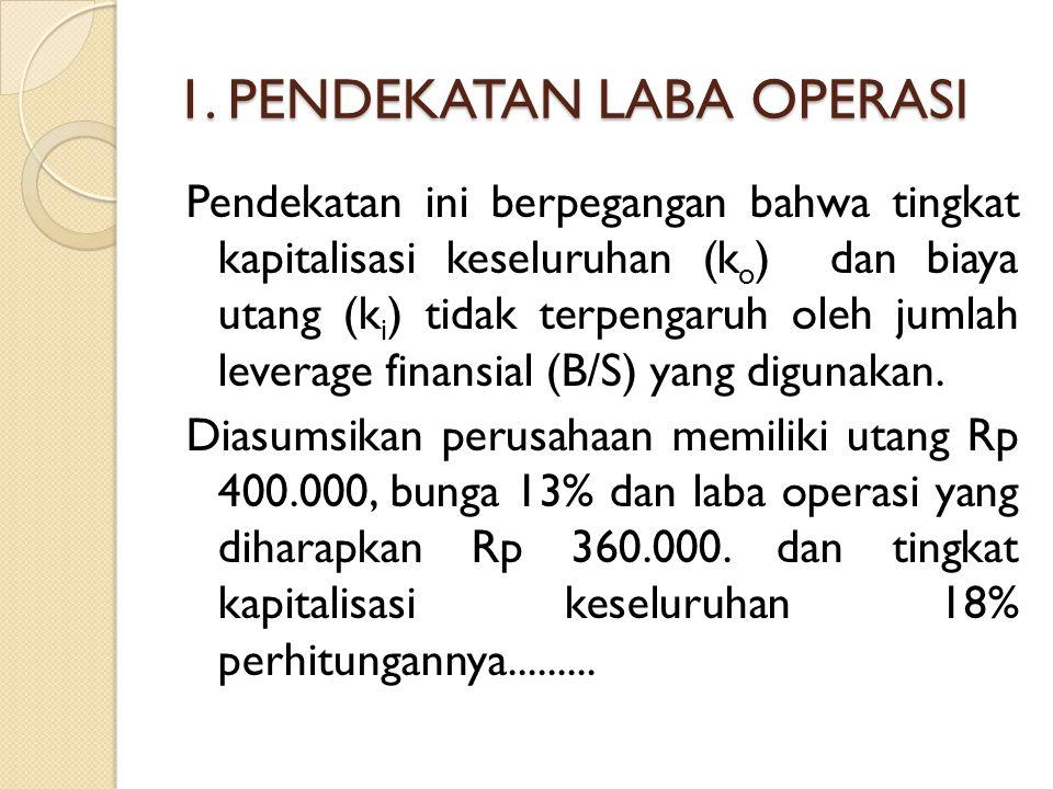 1. PENDEKATAN LABA OPERASI Pendekatan ini berpegangan bahwa tingkat kapitalisasi keseluruhan (k o ) dan biaya utang (k i ) tidak terpengaruh oleh juml