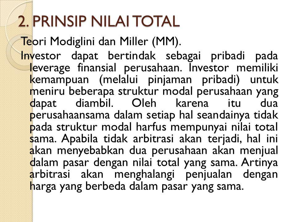 2. PRINSIP NILAI TOTAL Teori Modiglini dan Miller (MM). Investor dapat bertindak sebagai pribadi pada leverage finansial perusahaan. Investor memiliki