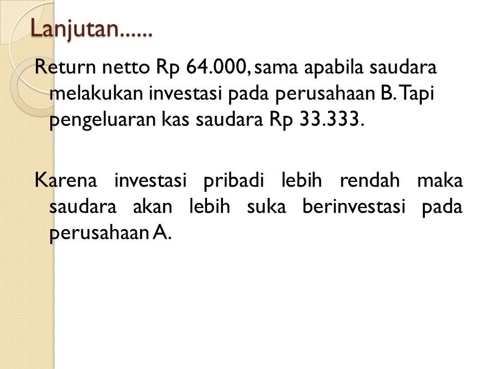 Lanjutan...... Return netto Rp 64.000, sama apabila saudara melakukan investasi pada perusahaan B. Tapi pengeluaran kas saudara Rp 33.333. Karena inve