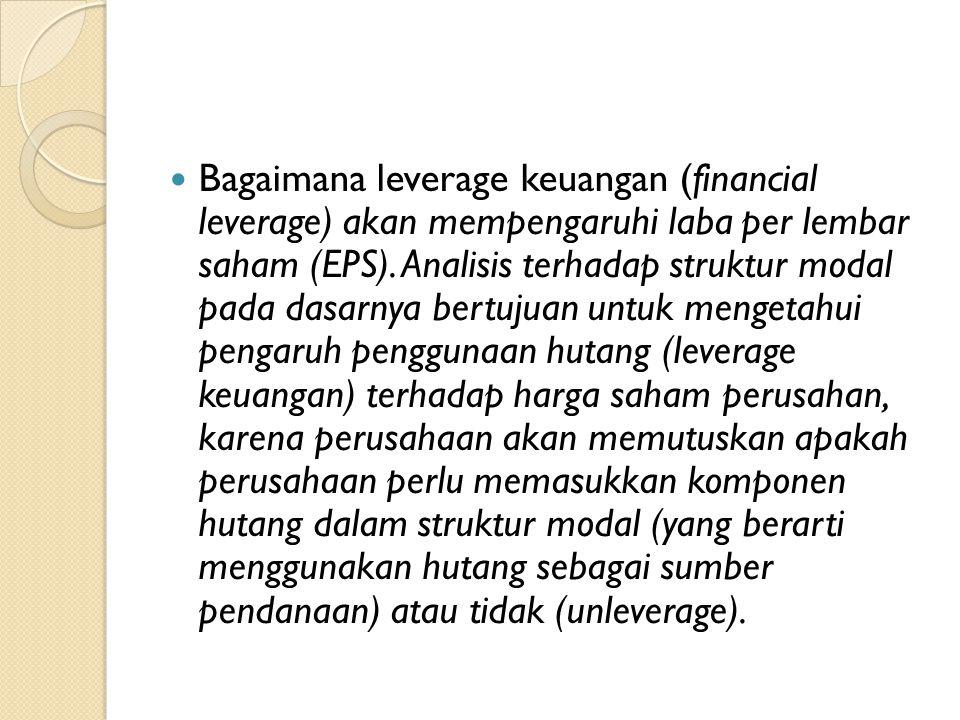 Bagaimana leverage keuangan (financial leverage) akan mempengaruhi laba per lembar saham (EPS). Analisis terhadap struktur modal pada dasarnya bertuju