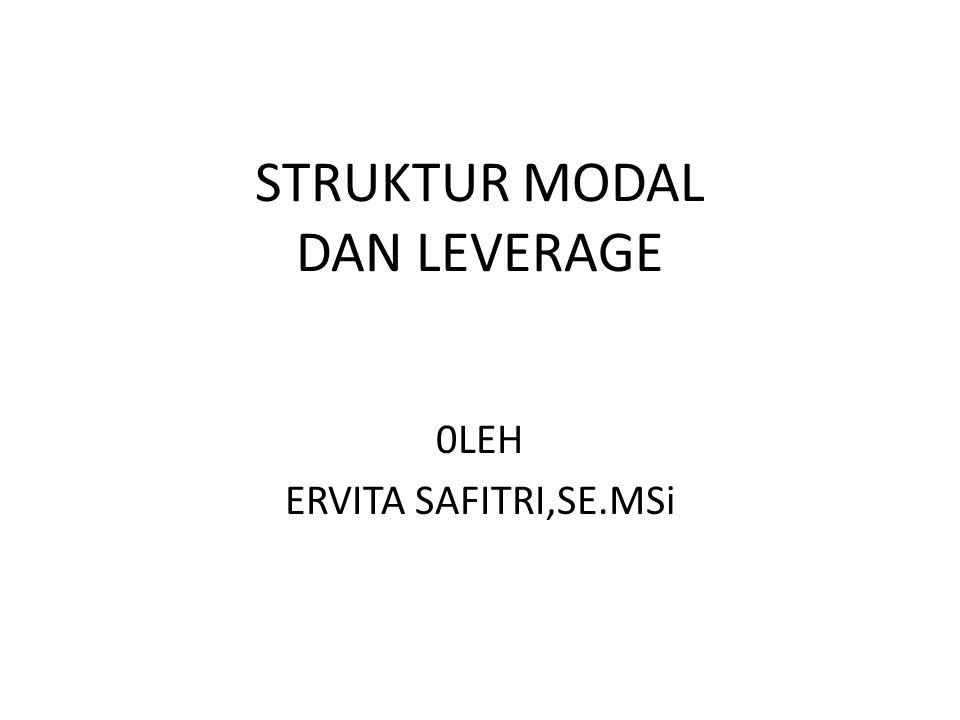 STRUKTUR MODAL DAN LEVERAGE 0LEH ERVITA SAFITRI,SE.MSi