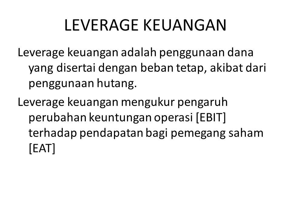 LEVERAGE KEUANGAN Leverage keuangan adalah penggunaan dana yang disertai dengan beban tetap, akibat dari penggunaan hutang. Leverage keuangan mengukur