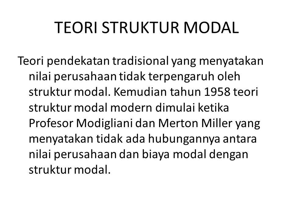 TEORI STRUKTUR MODAL Teori pendekatan tradisional yang menyatakan nilai perusahaan tidak terpengaruh oleh struktur modal. Kemudian tahun 1958 teori st
