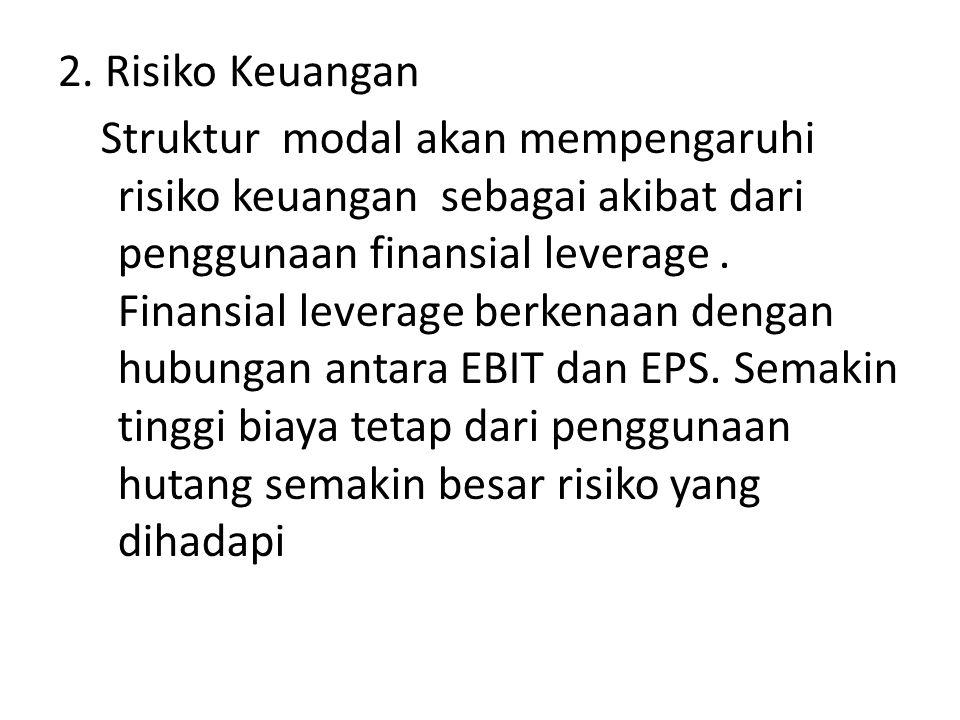 2. Risiko Keuangan Struktur modal akan mempengaruhi risiko keuangan sebagai akibat dari penggunaan finansial leverage. Finansial leverage berkenaan de