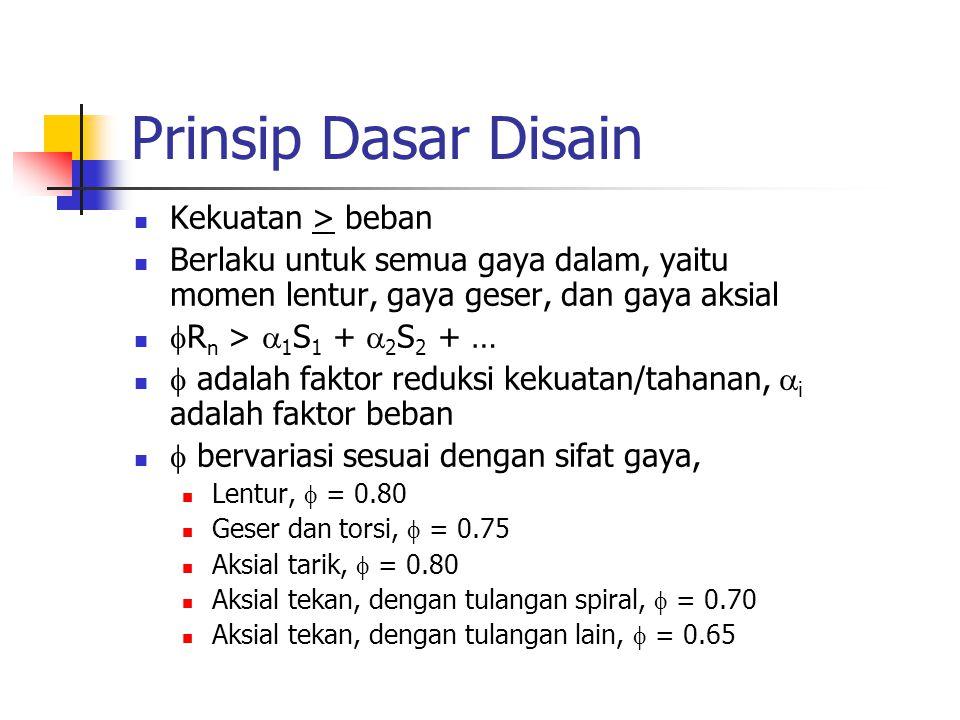 Prinsip Dasar Disain Kekuatan > beban Berlaku untuk semua gaya dalam, yaitu momen lentur, gaya geser, dan gaya aksial  R n >  1 S 1 +  2 S 2 + … 