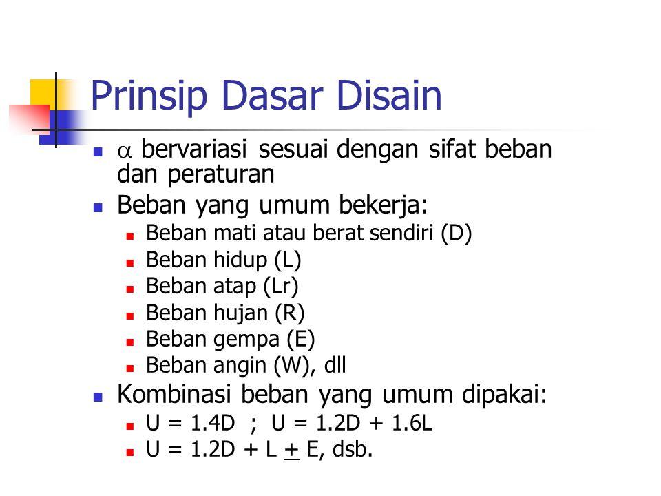 Prinsip Dasar Disain  bervariasi sesuai dengan sifat beban dan peraturan Beban yang umum bekerja: Beban mati atau berat sendiri (D) Beban hidup (L) B