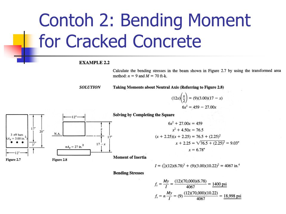 Contoh 2: Bending Moment for Cracked Concrete