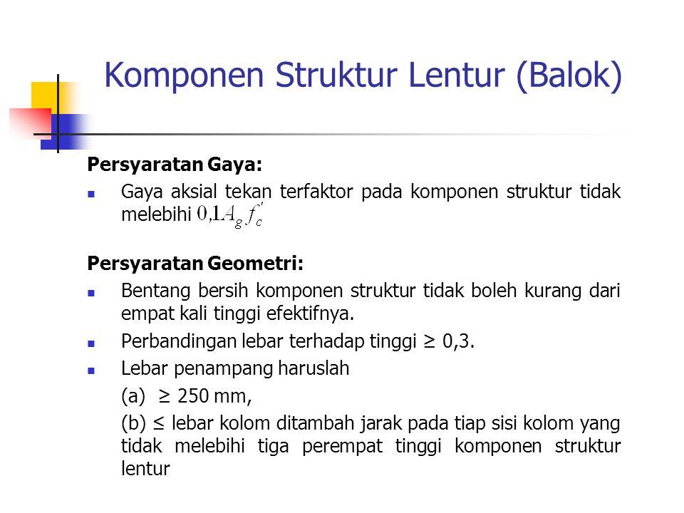 Komponen Struktur Lentur (Balok) Persyaratan Gaya: Gaya aksial tekan terfaktor pada komponen struktur tidak melebihi Persyaratan Geometri: Bentang ber