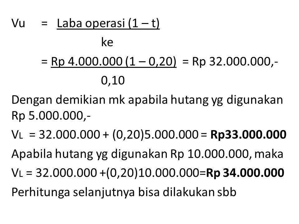 Vu = Laba operasi (1 – t) ke = Rp 4.000.000 (1 – 0,20) = Rp 32.000.000,- 0,10 Dengan demikian mk apabila hutang yg digunakan Rp 5.000.000,- V L = 32.000.000 + (0,20)5.000.000 = Rp33.000.000 Apabila hutang yg digunakan Rp 10.000.000, maka V L = 32.000.000 +(0,20)10.000.000=Rp 34.000.000 Perhitunga selanjutnya bisa dilakukan sbb