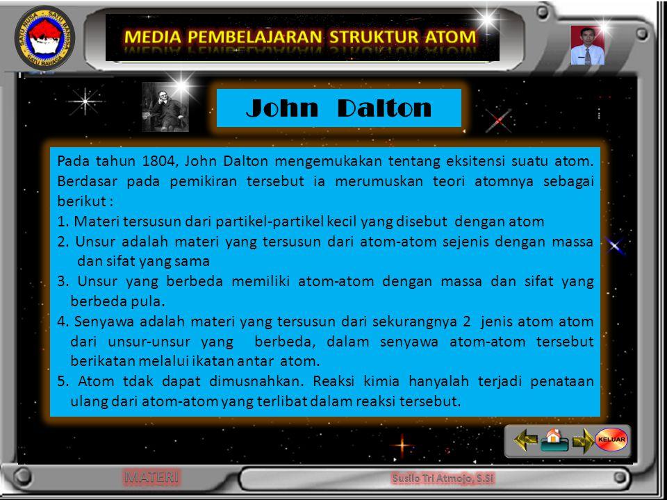 INDIKATOR Pada tahun 1804, John Dalton mengemukakan tentang eksitensi suatu atom.