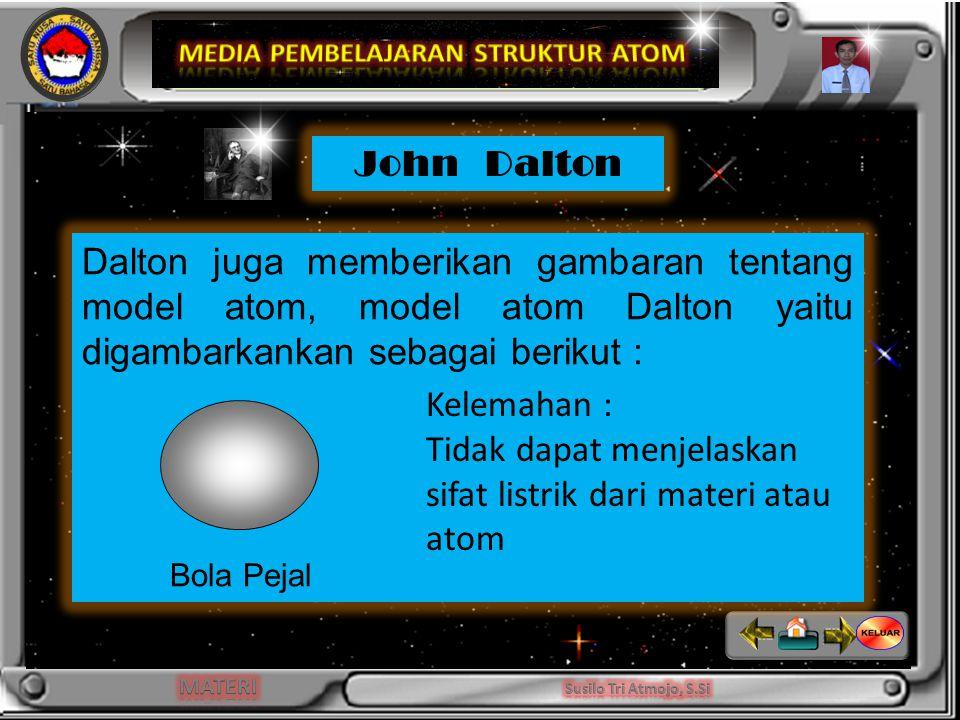 INDIKATOR Dalton juga memberikan gambaran tentang model atom, model atom Dalton yaitu digambarkankan sebagai berikut : Bola Pejal John Dalton Kelemahan : Tidak dapat menjelaskan sifat listrik dari materi atau atom
