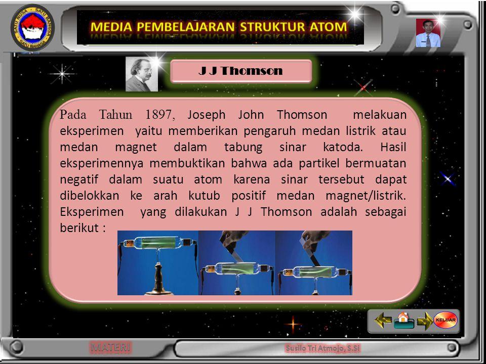 Pada Tahun 1897, Joseph John Thomson melakuan eksperimen yaitu memberikan pengaruh medan listrik atau medan magnet dalam tabung sinar katoda.