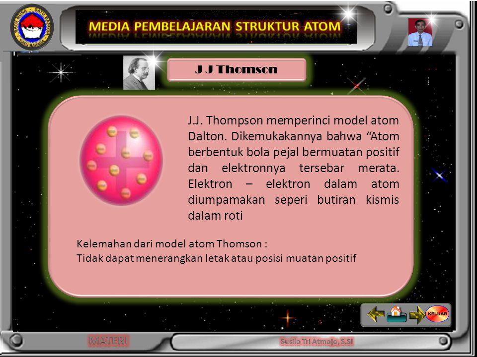 J.J.Thompson memperinci model atom Dalton.