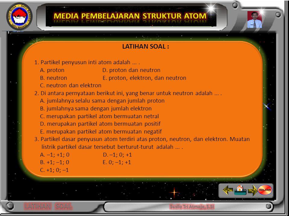 Niels Bohr LATIHAN SOAL : 1.Partikel penyusun inti atom adalah....