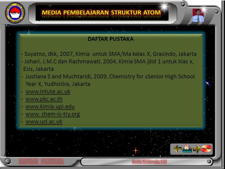 Niels Bohr DAFTAR PUSTAKA - Suyatno, dkk, 2007, Kimia untuk SMA/Ma kelas X, Grasindo, Jakarta - Johari, J.M.C dan Rachmawati, 2004, Kimia SMA jilid 1 untuk klas x, Esis, Jakarta -Justiana S and Muchtaridi, 2009, Chemistry for sSenior High School Year X, Yudhistira, Jakarta -www.intute.ac.uk -www.pkc.ac.th -www.kimia.upi.edu -www.