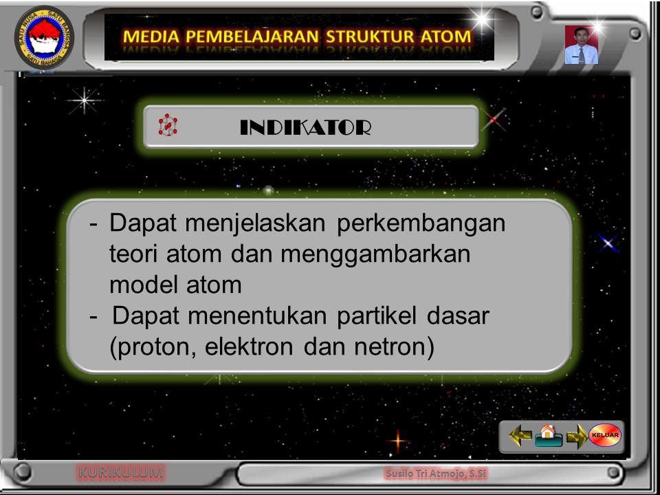 INDIKATOR -Dapat menjelaskan perkembangan teori atom dan menggambarkan model atom - Dapat menentukan partikel dasar (proton, elektron dan netron)