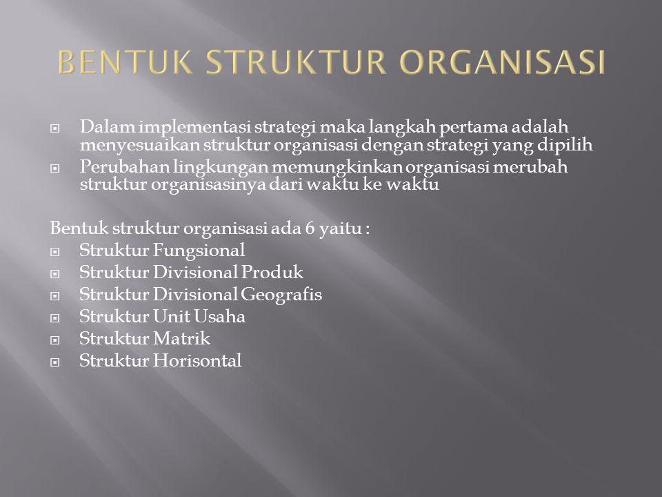 Dalam implementasi strategi maka langkah pertama adalah menyesuaikan struktur organisasi dengan strategi yang dipilih  Perubahan lingkungan memungk