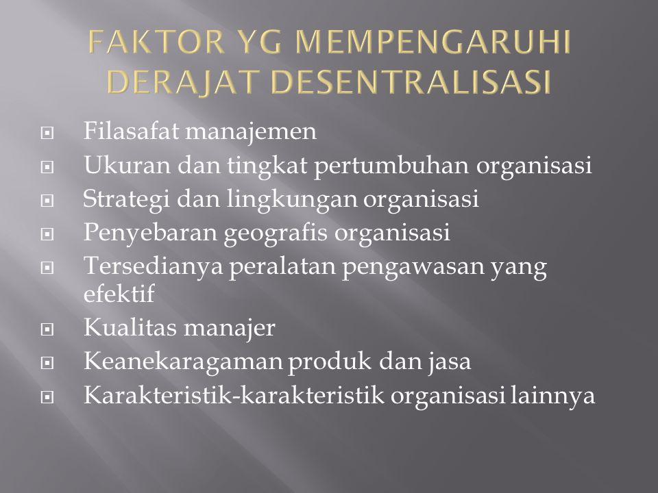  Filasafat manajemen  Ukuran dan tingkat pertumbuhan organisasi  Strategi dan lingkungan organisasi  Penyebaran geografis organisasi  Tersedianya