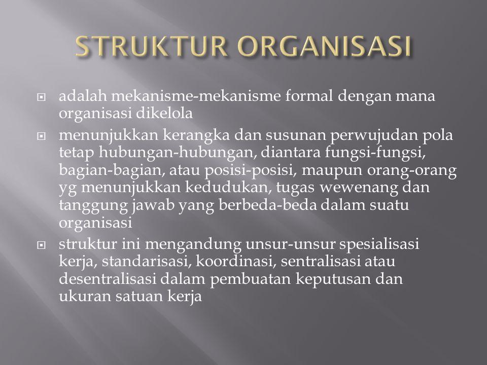  adalah mekanisme-mekanisme formal dengan mana organisasi dikelola  menunjukkan kerangka dan susunan perwujudan pola tetap hubungan-hubungan, dianta